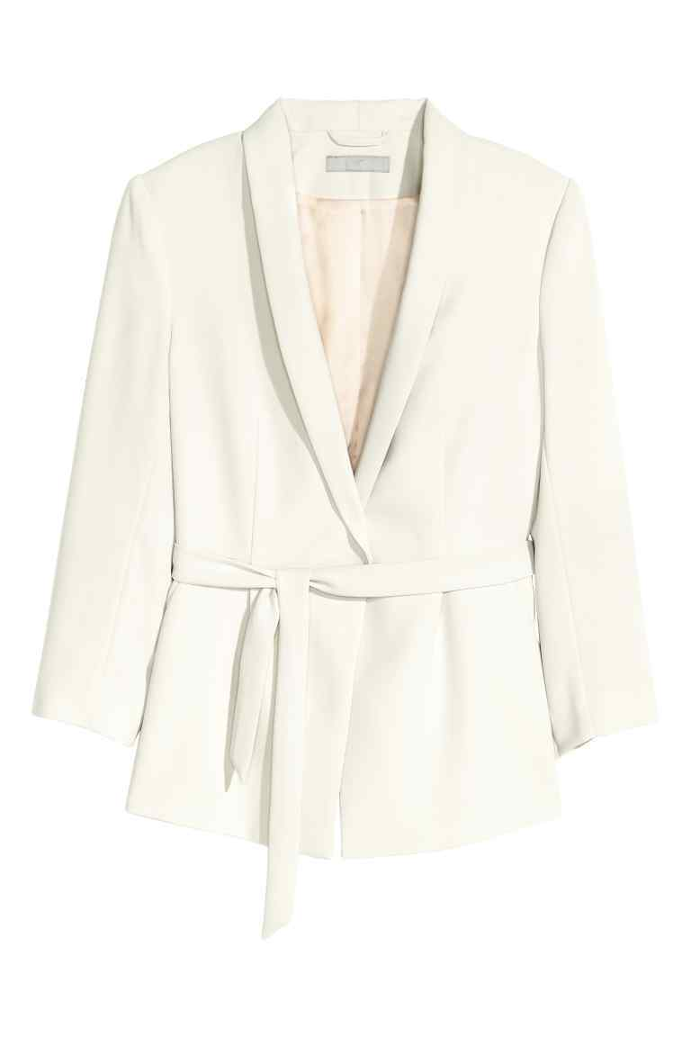 Jacket With A Tie Belt - pattern: plain; style: single breasted blazer; collar: shawl/waterfall; fit: loose; predominant colour: ivory/cream; length: standard; fibres: polyester/polyamide - 100%; waist detail: belted waist/tie at waist/drawstring; sleeve length: 3/4 length; sleeve style: standard; collar break: low/open; pattern type: fabric; texture group: woven light midweight; occasions: creative work; season: s/s 2016; wardrobe: investment