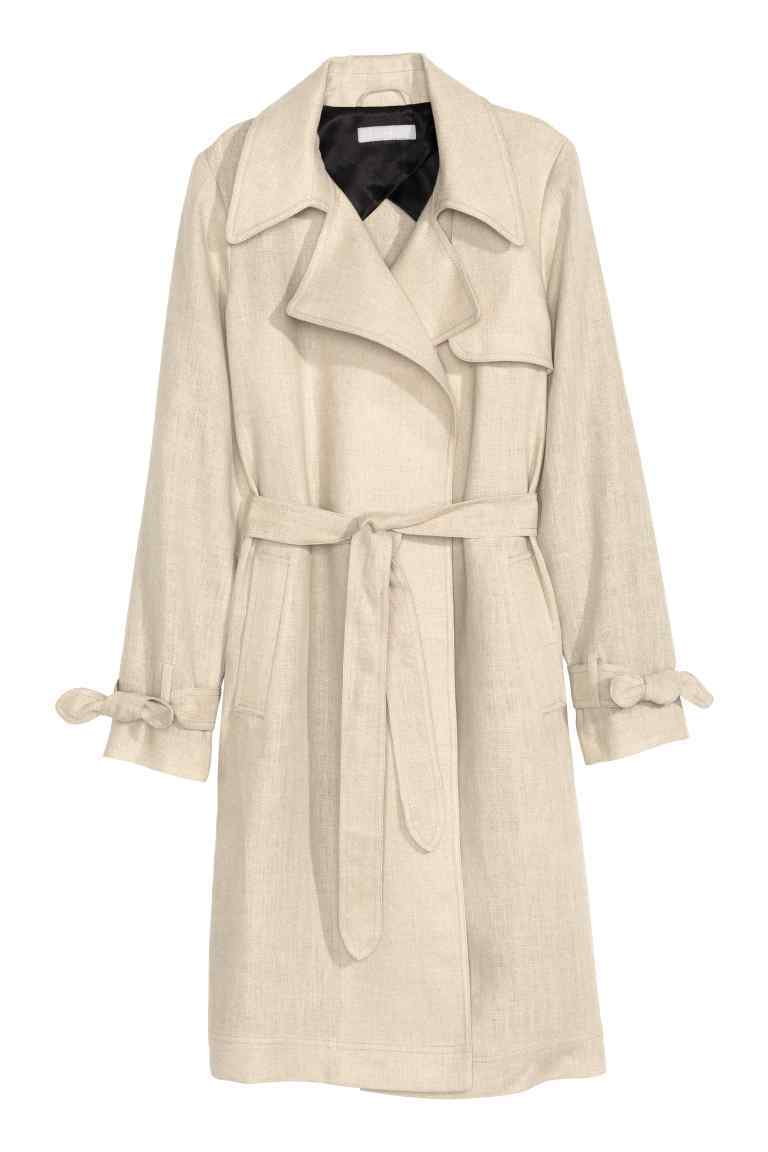 Linen Trenchcoat - pattern: plain; style: trench coat; length: on the knee; predominant colour: ivory/cream; occasions: work, creative work; fit: tailored/fitted; fibres: linen - 100%; collar: shirt collar/peter pan/zip with opening; waist detail: belted waist/tie at waist/drawstring; sleeve length: long sleeve; sleeve style: standard; texture group: linen; collar break: high; pattern type: fabric; season: s/s 2016; wardrobe: highlight