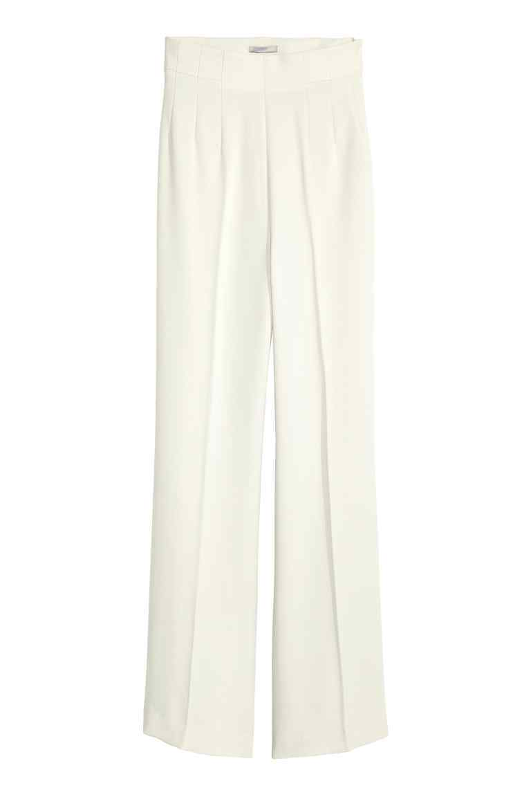 Wide Suit Trousers - length: standard; pattern: plain; style: palazzo; waist: high rise; predominant colour: ivory/cream; fibres: polyester/polyamide - 100%; occasions: occasion; hip detail: subtle/flattering hip detail; fit: wide leg; pattern type: fabric; texture group: other - light to midweight; season: s/s 2016; wardrobe: event