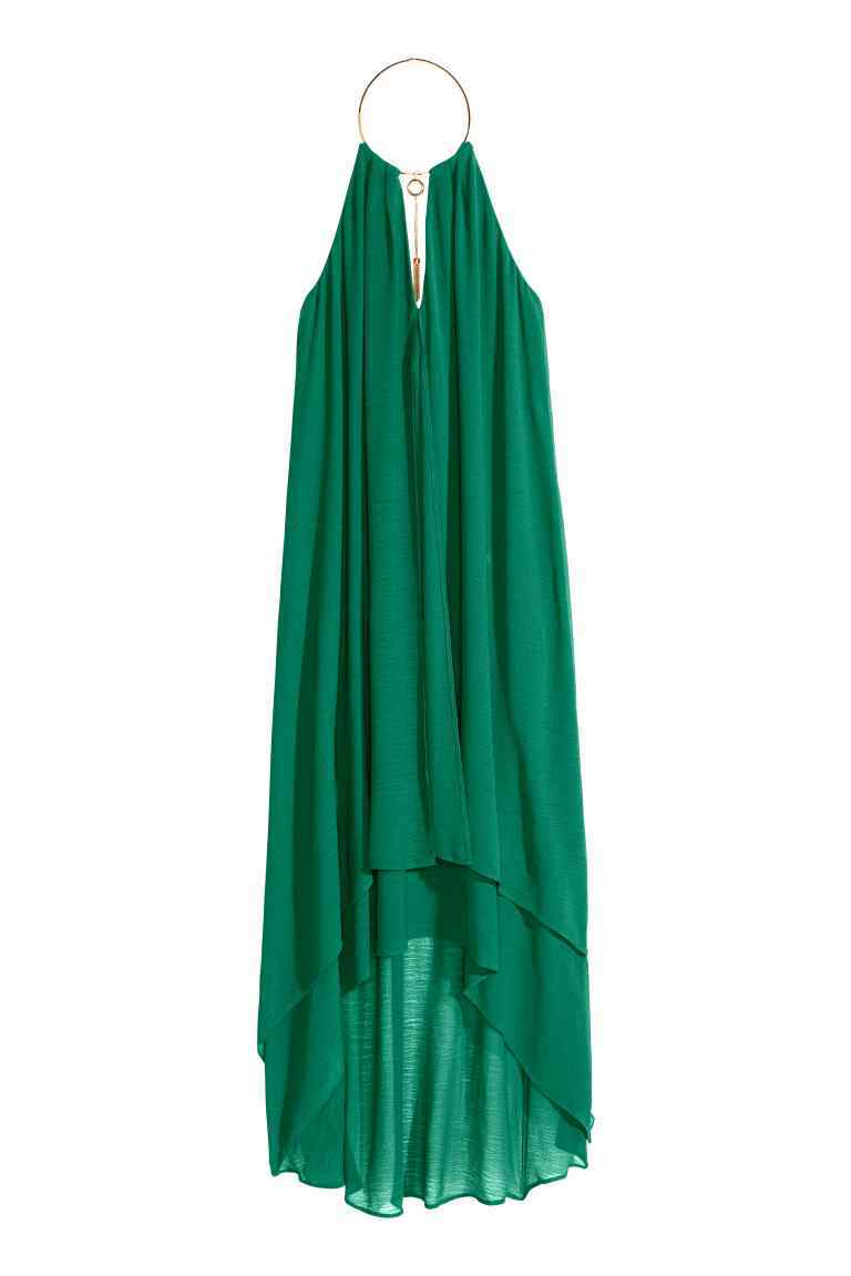 Necklace Trim Dress - fit: loose; pattern: plain; sleeve style: sleeveless; style: maxi dress; length: ankle length; predominant colour: emerald green; fibres: polyester/polyamide - 100%; occasions: occasion; sleeve length: sleeveless; texture group: sheer fabrics/chiffon/organza etc.; pattern type: fabric; season: s/s 2016; neckline: high halter neck; wardrobe: event