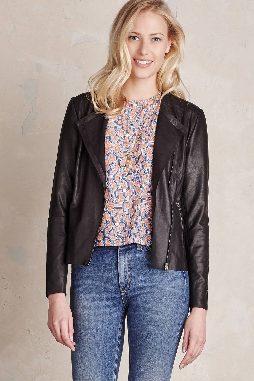 Amba Leather Jacket - pattern: plain; style: biker; collar: asymmetric biker; predominant colour: black; occasions: casual, creative work; length: standard; fit: tailored/fitted; fibres: leather - 100%; sleeve length: long sleeve; sleeve style: standard; texture group: leather; collar break: high/illusion of break when open; pattern type: fabric; season: s/s 2016