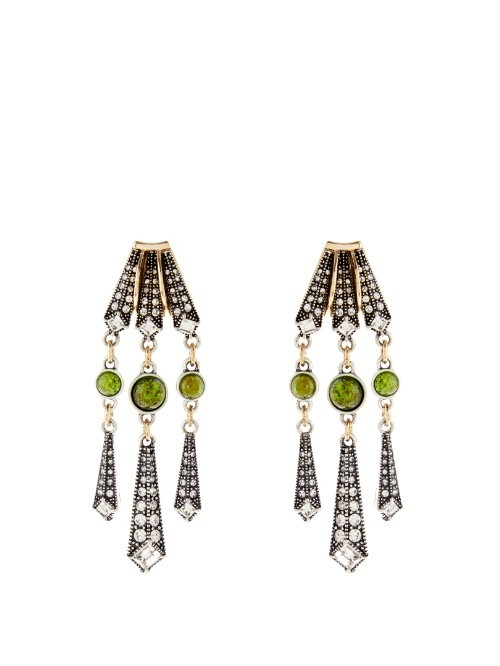 Brigitte Chandelier Earrings - secondary colour: lime; predominant colour: silver; occasions: evening, occasion; style: chandelier; length: long; size: large/oversized; material: chain/metal; fastening: pierced; finish: metallic; embellishment: jewels/stone; season: s/s 2016