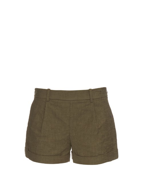 Gillian Shorts - pattern: plain; waist: mid/regular rise; predominant colour: khaki; occasions: casual; fibres: cotton - stretch; texture group: cotton feel fabrics; pattern type: fabric; season: s/s 2016; wardrobe: basic; style: shorts; length: short shorts; fit: slim leg