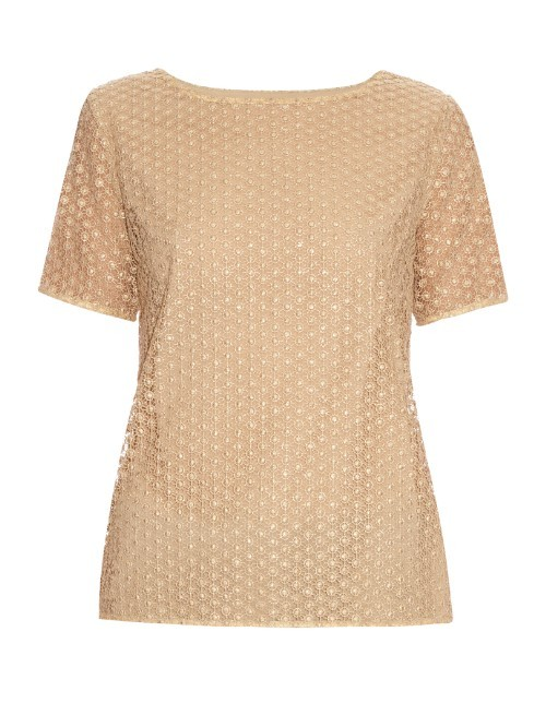Brylee Top - pattern: plain; predominant colour: gold; occasions: casual; length: standard; style: top; fibres: polyester/polyamide - mix; fit: body skimming; neckline: crew; sleeve length: short sleeve; sleeve style: standard; pattern type: fabric; texture group: woven light midweight; season: s/s 2016; wardrobe: highlight