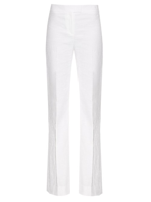 Nicola Trousers - length: standard; pattern: plain; hip detail: draws attention to hips; waist: mid/regular rise; predominant colour: white; occasions: evening; fibres: cotton - stretch; fit: bootcut; pattern type: fabric; texture group: other - light to midweight; style: standard; season: s/s 2016; wardrobe: event