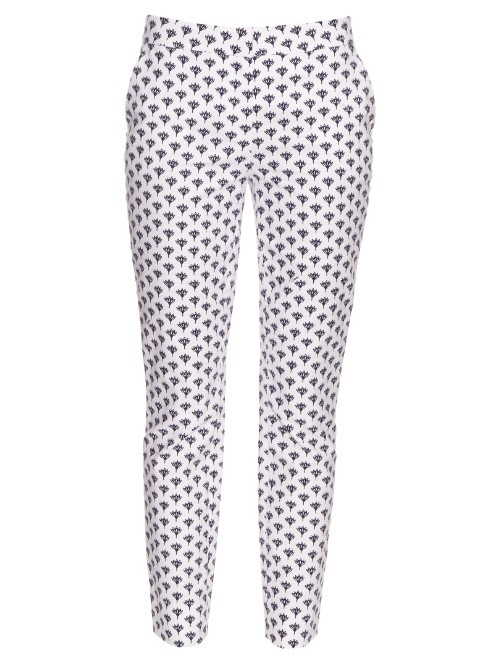 Genesis Trousers - length: standard; style: peg leg; waist: mid/regular rise; predominant colour: white; secondary colour: mid grey; occasions: casual; fibres: cotton - 100%; fit: tapered; pattern type: fabric; pattern: patterned/print; texture group: other - light to midweight; multicoloured: multicoloured; season: s/s 2016; wardrobe: highlight