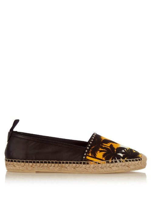 Sunset Print Canvas And Leather Espadrilles - secondary colour: bright orange; predominant colour: black; occasions: casual, creative work; material: fabric; heel height: flat; toe: round toe; finish: plain; pattern: patterned/print; style: espadrilles; shoe detail: platform; season: s/s 2016; wardrobe: highlight