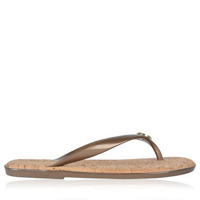 Jet Set Jelly Flip Flop Sandals - predominant colour: gold; occasions: casual, holiday; material: plastic/rubber; heel height: flat; heel: standard; toe: toe thongs; style: flip flops; finish: metallic; pattern: plain; season: s/s 2016; wardrobe: highlight