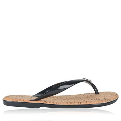 Jet Set Jelly Flip Flop Sandals - predominant colour: black; occasions: casual, holiday; material: plastic/rubber; heel height: flat; heel: block; toe: toe thongs; style: flip flops; finish: plain; pattern: plain; season: s/s 2016; wardrobe: highlight
