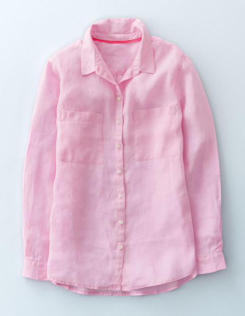 The Linen Shirt Cotton Candy Women, Cotton Candy - neckline: shirt collar/peter pan/zip with opening; pattern: plain; style: shirt; predominant colour: pink; occasions: casual, work, creative work; length: standard; fibres: linen - 100%; fit: body skimming; sleeve length: long sleeve; sleeve style: standard; texture group: linen; pattern type: fabric; season: s/s 2016; wardrobe: highlight