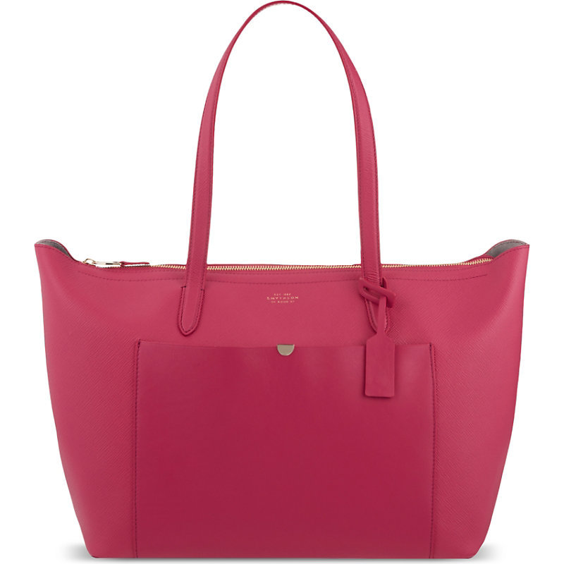 Panama East West Leather Tote, Women's, Purple - occasions: casual, creative work; type of pattern: standard; style: tote; length: handle; size: oversized; material: leather; pattern: plain; finish: plain; predominant colour: raspberry; season: s/s 2016