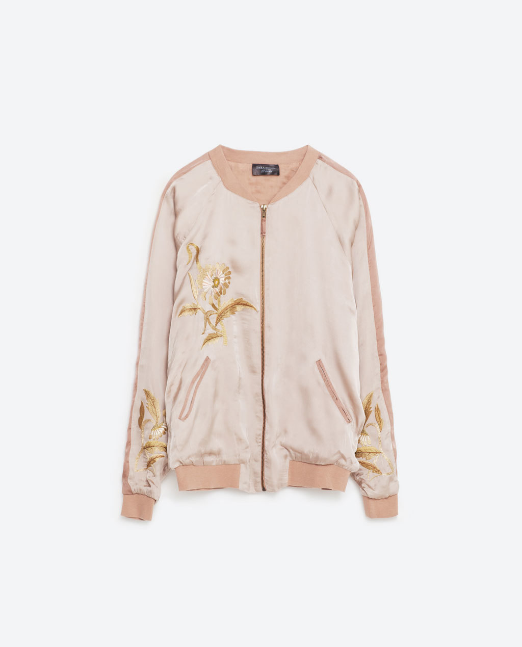 Embroidered Bomber Style Jacket - collar: round collar/collarless; style: bomber; predominant colour: blush; occasions: casual, creative work; length: standard; fit: straight cut (boxy); fibres: cotton - 100%; sleeve length: long sleeve; sleeve style: standard; texture group: technical outdoor fabrics; collar break: high; pattern type: fabric; pattern size: light/subtle; pattern: patterned/print; season: s/s 2016; wardrobe: highlight