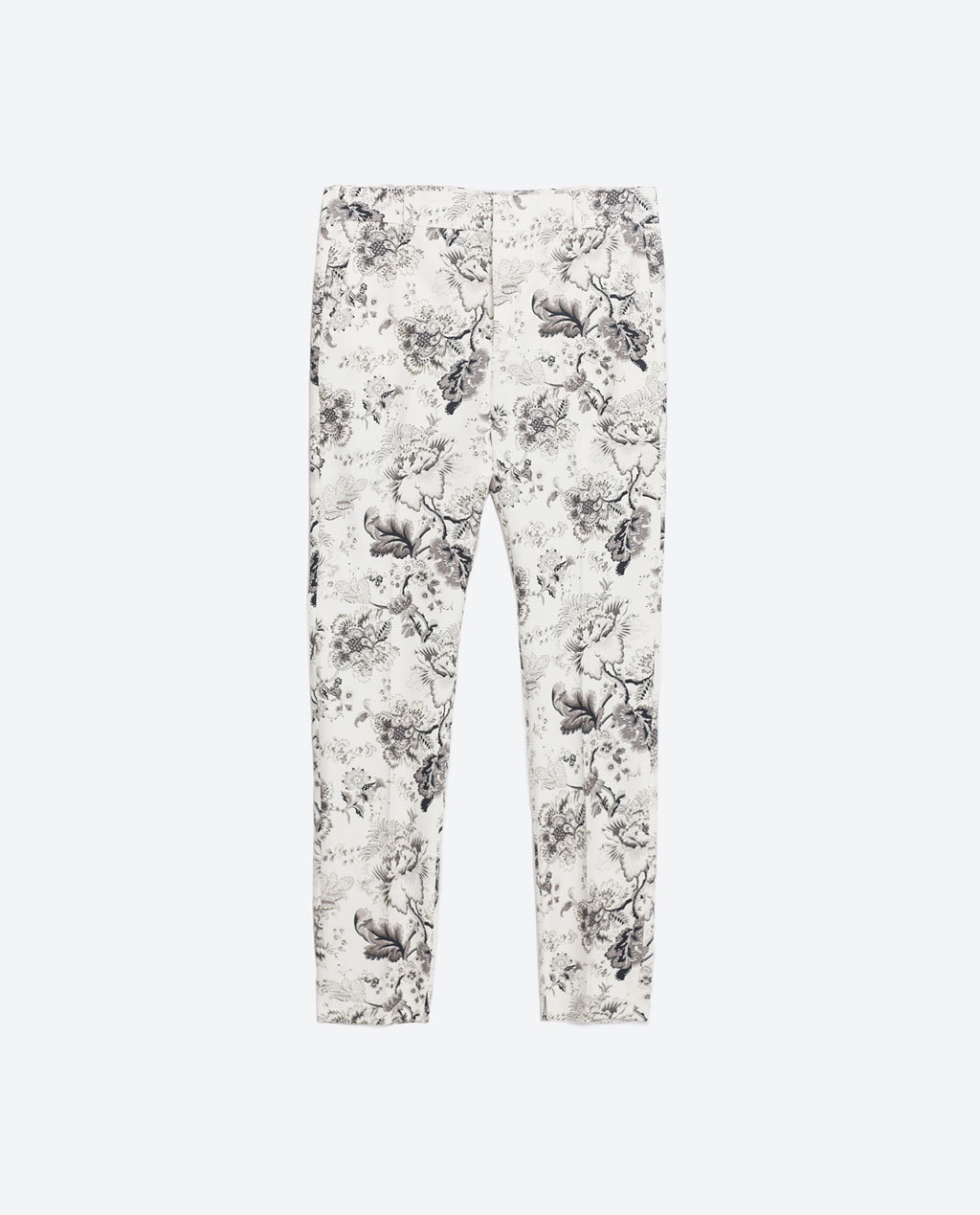 Printed Trousers - waist: mid/regular rise; predominant colour: white; secondary colour: black; occasions: casual, creative work; length: calf length; fibres: cotton - stretch; trends: monochrome; fit: slim leg; pattern type: fabric; pattern: florals; texture group: woven light midweight; style: standard; pattern size: light/subtle (bottom); season: s/s 2016; wardrobe: highlight