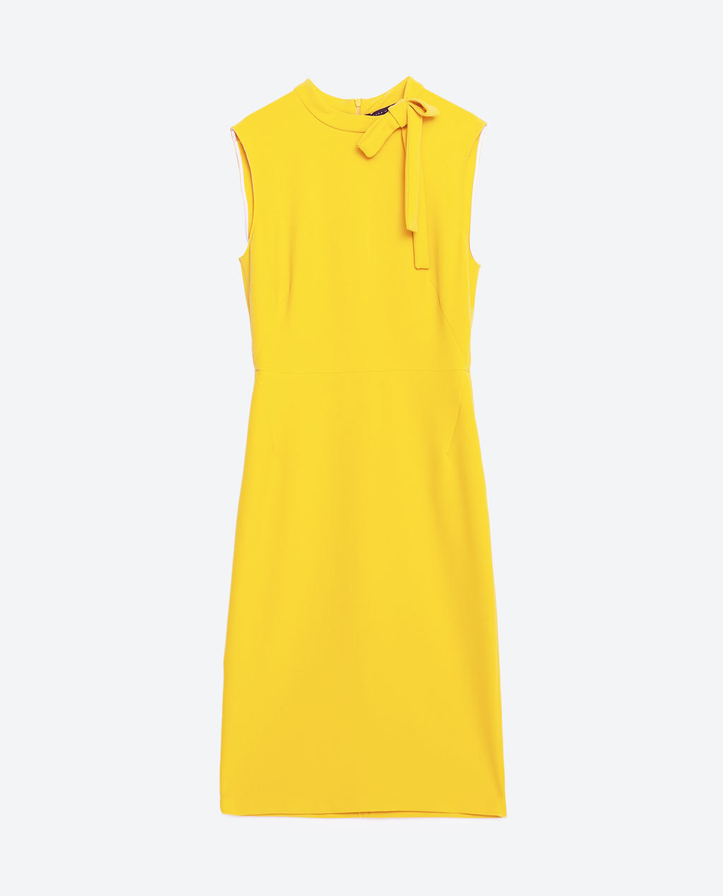 Tube Dress - style: shift; fit: tailored/fitted; pattern: plain; sleeve style: sleeveless; hip detail: draws attention to hips; predominant colour: yellow; length: just above the knee; fibres: polyester/polyamide - stretch; neckline: crew; sleeve length: sleeveless; texture group: crepes; pattern type: fabric; occasions: creative work; season: s/s 2016; wardrobe: highlight