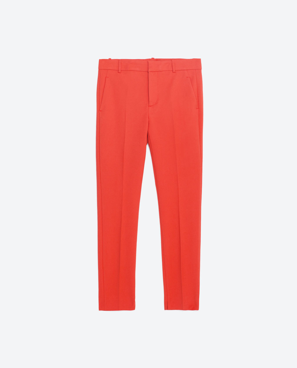 Chino Trousers - pattern: plain; waist: mid/regular rise; predominant colour: true red; length: ankle length; fibres: cotton - stretch; fit: straight leg; pattern type: fabric; texture group: other - light to midweight; style: standard; occasions: creative work; season: s/s 2016; wardrobe: highlight
