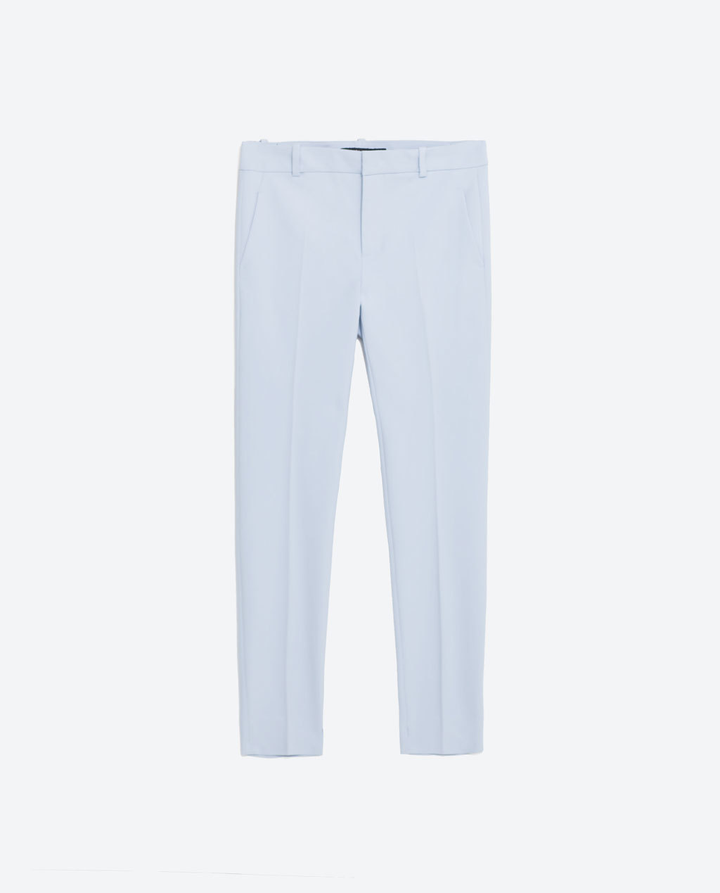 Chino Trousers - pattern: plain; waist: mid/regular rise; predominant colour: pale blue; length: ankle length; fibres: cotton - stretch; fit: straight leg; pattern type: fabric; texture group: other - light to midweight; style: standard; occasions: creative work; season: s/s 2016