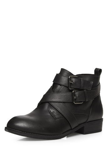 Womens Dorothy Perkins Wide Fit Black 'wasabi' Boots, Black - predominant colour: black; occasions: casual, creative work; material: faux leather; heel height: flat; heel: standard; toe: round toe; boot length: ankle boot; style: standard; finish: plain; pattern: plain; season: s/s 2016; wardrobe: basic