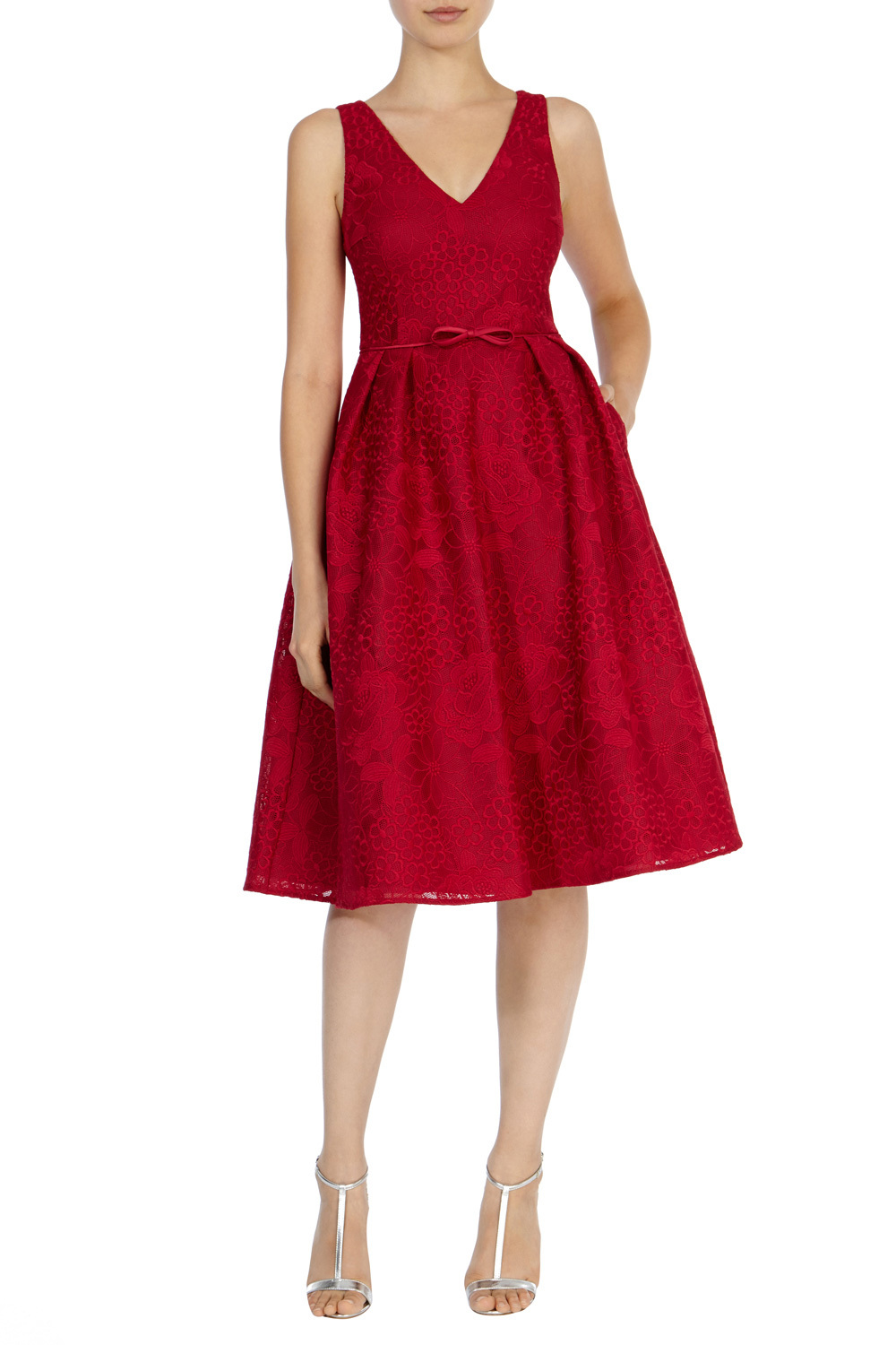 Francella Embroidered Dress - length: below the knee; neckline: v-neck; pattern: plain; sleeve style: sleeveless; style: prom dress; waist detail: belted waist/tie at waist/drawstring; predominant colour: true red; occasions: evening; fit: fitted at waist & bust; fibres: polyester/polyamide - 100%; sleeve length: sleeveless; texture group: lace; pattern type: fabric; season: s/s 2016; wardrobe: event
