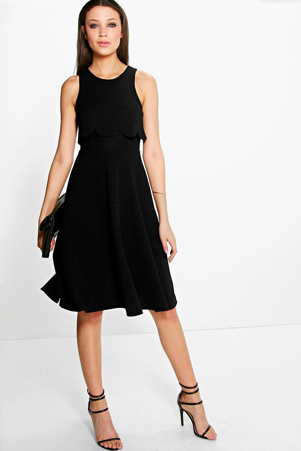 Double Layer Scallop Midi Skater Dress Black - pattern: plain; sleeve style: sleeveless; bust detail: subtle bust detail; predominant colour: black; occasions: evening; length: on the knee; fit: fitted at waist & bust; style: fit & flare; fibres: acrylic - 100%; neckline: crew; sleeve length: sleeveless; texture group: crepes; pattern type: fabric; season: s/s 2016; wardrobe: event