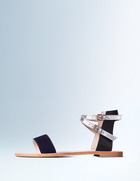 Ingrid Sandal Navy/Black/Silver Mirror Women, Navy/Black/Silver Mirror - predominant colour: navy; secondary colour: silver; occasions: casual, holiday; material: leather; heel height: flat; ankle detail: ankle strap; heel: standard; toe: open toe/peeptoe; style: standard; finish: plain; pattern: colourblock; season: s/s 2016; wardrobe: highlight