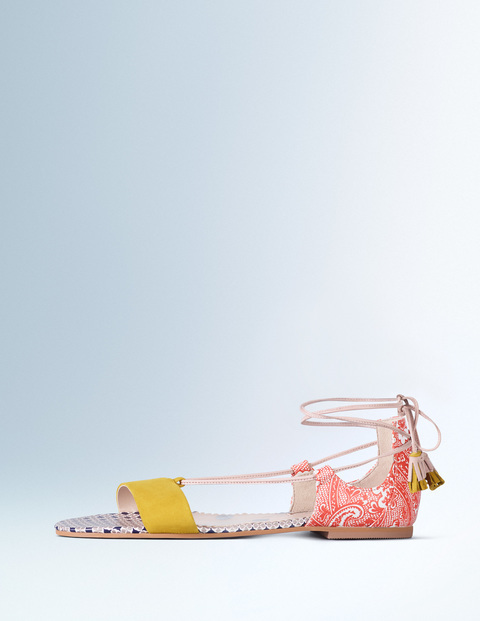 Sienna Sandal Mimosa/Firecracker Paisley Women, Mimosa/Firecracker Paisley - secondary colour: pink; predominant colour: yellow; occasions: casual, holiday; material: faux leather; heel height: flat; ankle detail: ankle tie; heel: standard; toe: open toe/peeptoe; style: strappy; finish: plain; pattern: patterned/print; season: s/s 2016; wardrobe: highlight