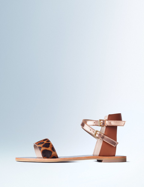 Ingrid Sandal Tan Leopard/Tan/Rose Gold Women, Tan Leopard/Tan/Rose Gold - predominant colour: tan; secondary colour: gold; occasions: casual, holiday; material: leather; heel height: flat; ankle detail: ankle strap; heel: standard; toe: open toe/peeptoe; style: strappy; finish: plain; pattern: animal print; season: s/s 2016; wardrobe: highlight