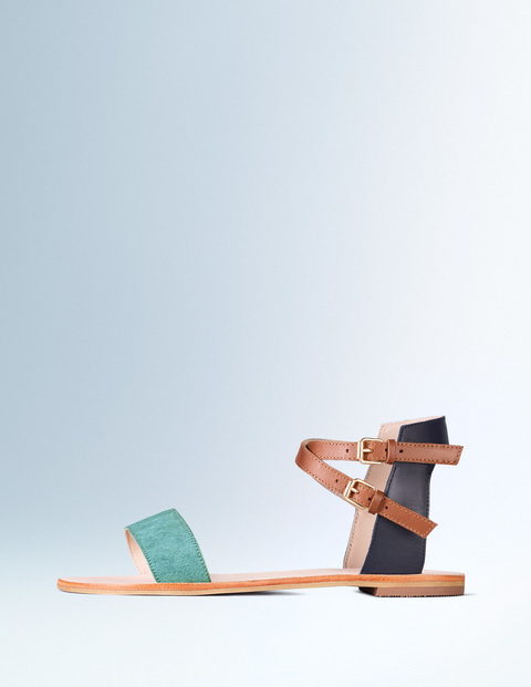 Ingrid Sandal Oxygen/Navy/Tan Women, Oxygen/Navy/Tan - predominant colour: mint green; secondary colour: tan; occasions: casual, holiday; material: leather; heel height: flat; ankle detail: ankle strap; heel: standard; toe: open toe/peeptoe; style: strappy; finish: plain; pattern: colourblock; season: s/s 2016