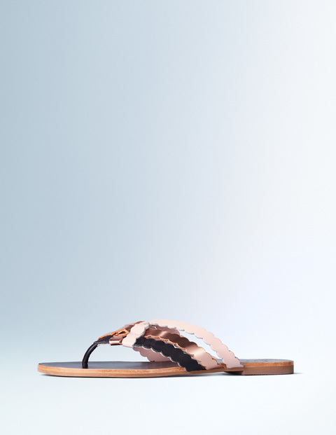 Georgia Woven Sandal Black/Rose Gold/Pink Pearl Women, Black/Rose Gold/Pink Pearl - predominant colour: blush; secondary colour: blush; material: leather; heel height: flat; heel: standard; toe: toe thongs; style: flip flops; occasions: holiday; finish: metallic; pattern: colourblock; season: s/s 2016; wardrobe: highlight