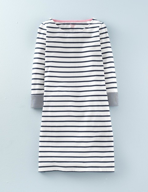 Bestselling Breton Tunic Dress Navy, Ivory/Navy - pattern: horizontal stripes; style: tunic; predominant colour: white; secondary colour: navy; occasions: casual, creative work; fibres: cotton - 100%; fit: body skimming; neckline: crew; length: mid thigh; sleeve length: 3/4 length; sleeve style: standard; pattern type: fabric; pattern size: standard; texture group: jersey - stretchy/drapey; season: s/s 2016