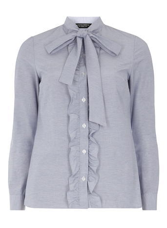 Womens Blue Cotton Pussybow Shirt Blue - pattern: plain; style: shirt; neckline: pussy bow; predominant colour: pale blue; occasions: casual; length: standard; fibres: cotton - 100%; fit: body skimming; sleeve length: long sleeve; sleeve style: standard; texture group: cotton feel fabrics; pattern type: fabric; season: s/s 2016; wardrobe: highlight