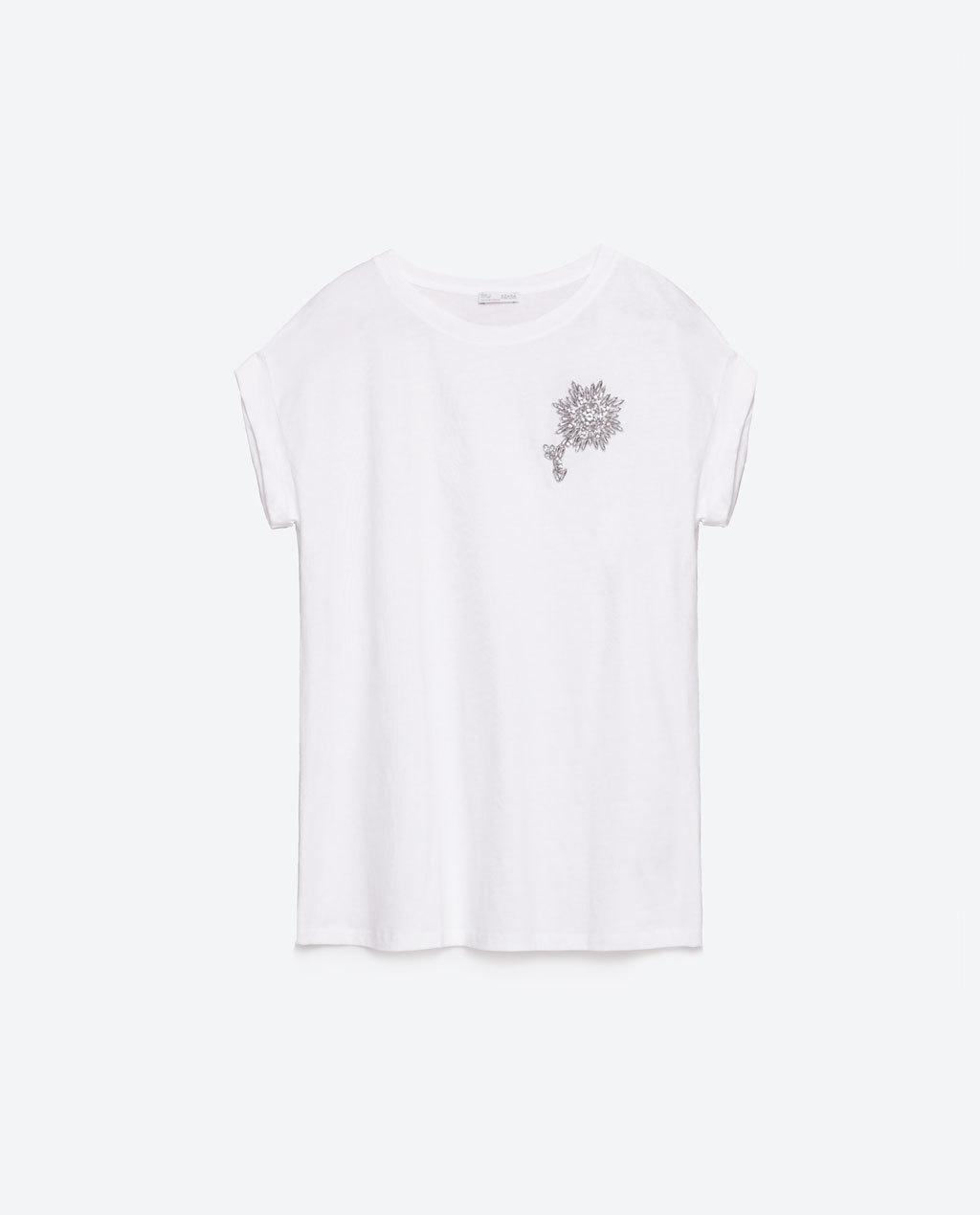 Brooch Clasp T Shirt - pattern: plain; style: t-shirt; predominant colour: white; secondary colour: light grey; occasions: casual; length: standard; fibres: cotton - 100%; fit: body skimming; neckline: crew; sleeve length: short sleeve; sleeve style: standard; pattern type: fabric; pattern size: standard; texture group: jersey - stretchy/drapey; season: s/s 2016; wardrobe: basic