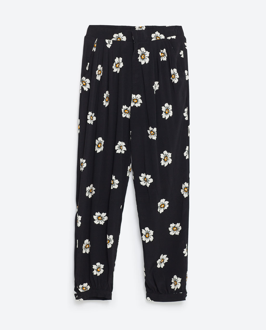 Loose Fit Trousers - length: standard; style: harem/slouch; waist: mid/regular rise; secondary colour: ivory/cream; predominant colour: black; occasions: casual; fibres: viscose/rayon - 100%; fit: baggy; pattern type: fabric; pattern: florals; texture group: woven light midweight; multicoloured: multicoloured; season: s/s 2016; wardrobe: highlight