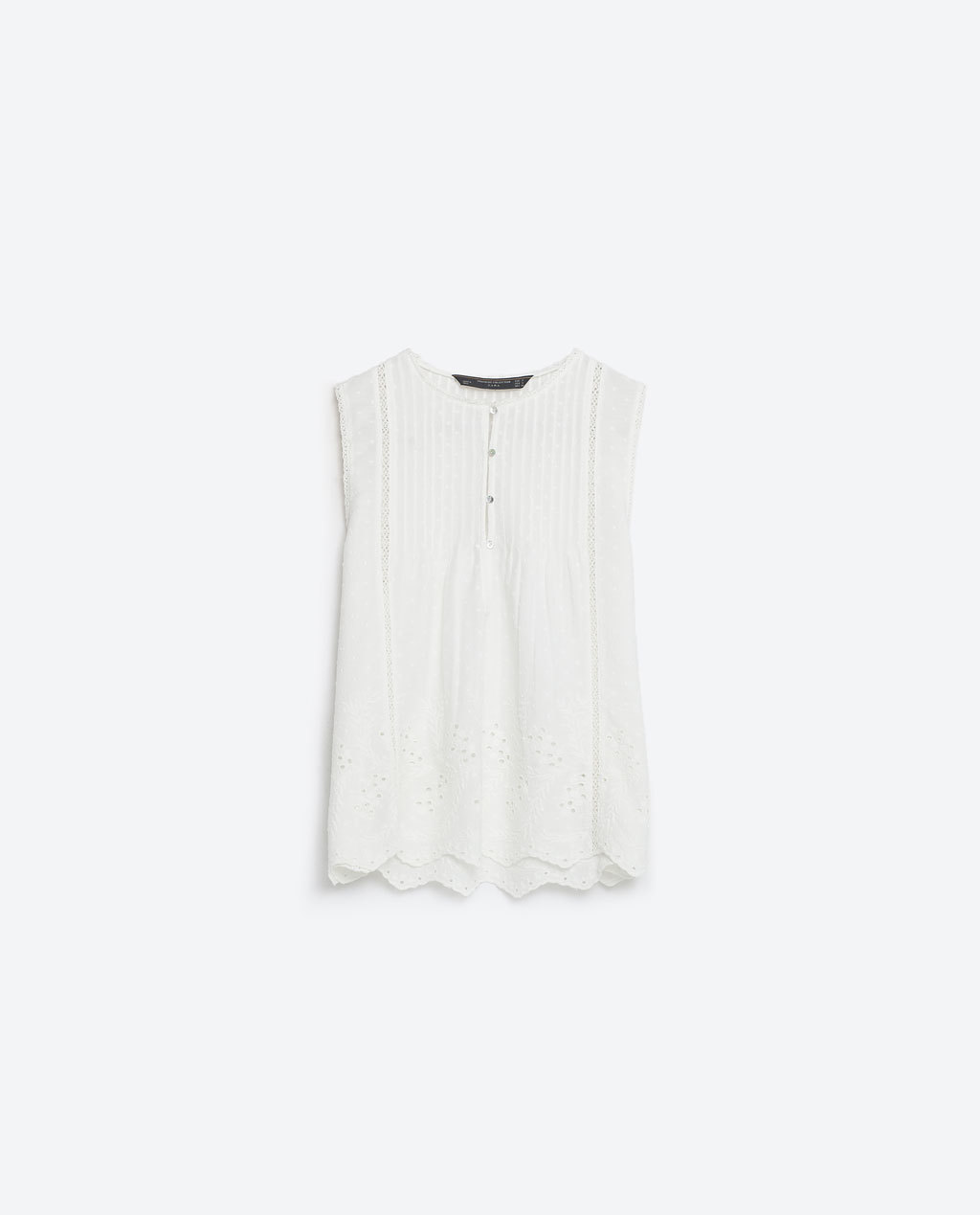 Embroidered Top - pattern: plain; sleeve style: sleeveless; predominant colour: white; occasions: casual; length: standard; style: top; fibres: cotton - 100%; fit: body skimming; neckline: crew; sleeve length: sleeveless; texture group: cotton feel fabrics; pattern type: fabric; season: s/s 2016; wardrobe: basic
