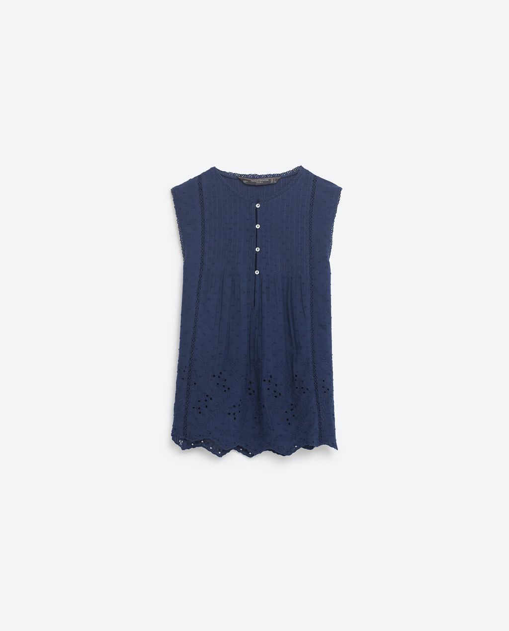 Embroidered Top - sleeve style: capped; pattern: plain; predominant colour: navy; occasions: casual; length: standard; style: top; fibres: cotton - 100%; fit: body skimming; neckline: crew; sleeve length: sleeveless; texture group: cotton feel fabrics; pattern type: fabric; season: s/s 2016; wardrobe: basic