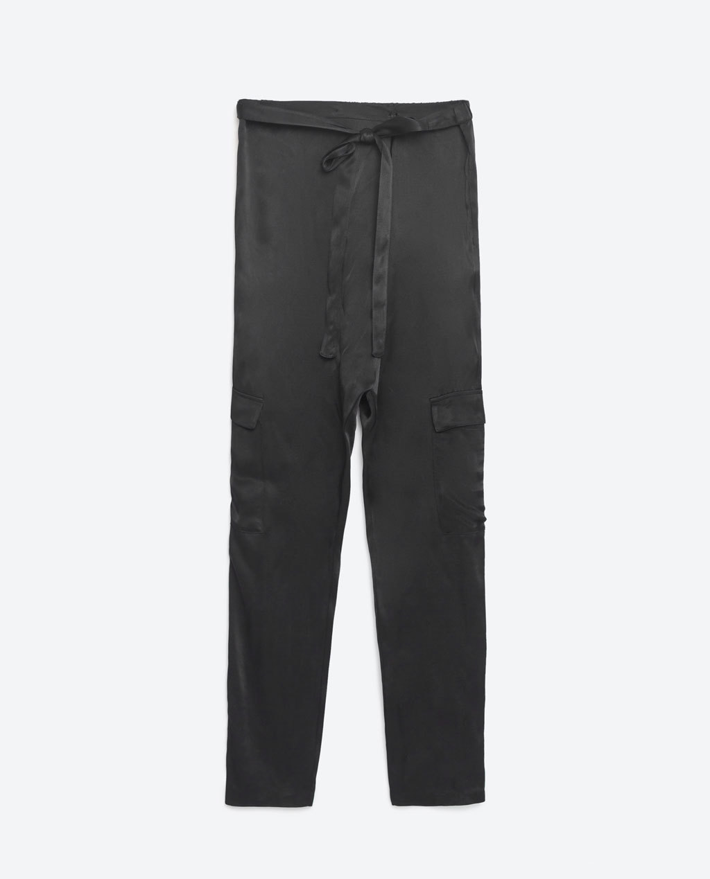 Glossy Cargo Trousers - length: standard; pattern: plain; waist: high rise; waist detail: belted waist/tie at waist/drawstring; style: cargo; predominant colour: black; occasions: casual, creative work; fibres: viscose/rayon - 100%; texture group: silky - light; fit: slim leg; pattern type: fabric; season: s/s 2016; wardrobe: basic