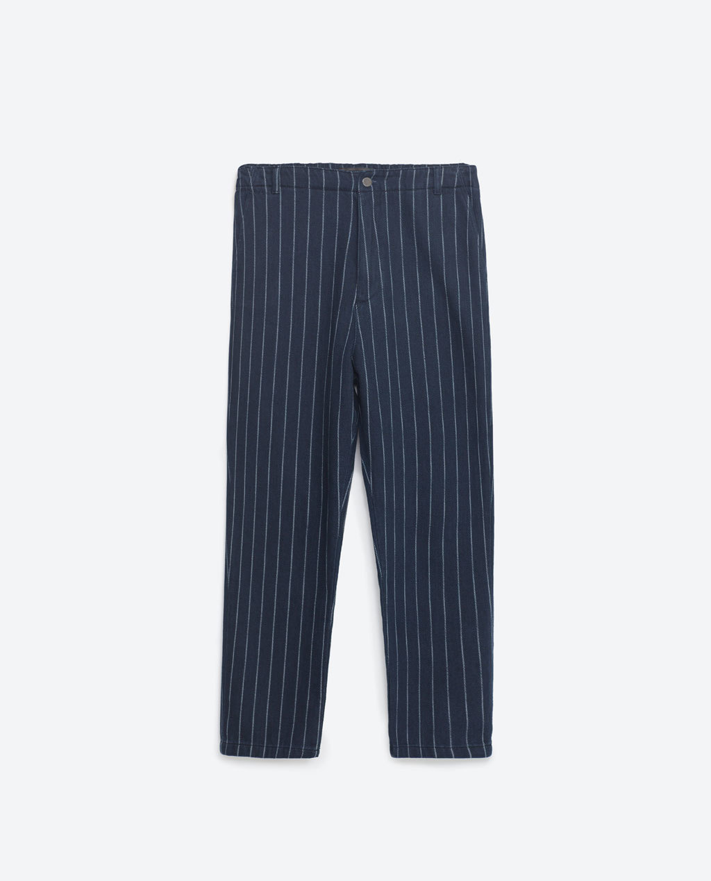 Striped Masculine Jeans - style: straight leg; pattern: vertical stripes; waist: mid/regular rise; predominant colour: navy; secondary colour: light grey; length: ankle length; fibres: cotton - 100%; pattern type: fabric; texture group: other - light to midweight; occasions: creative work; pattern size: light/subtle (bottom); season: s/s 2016; wardrobe: highlight