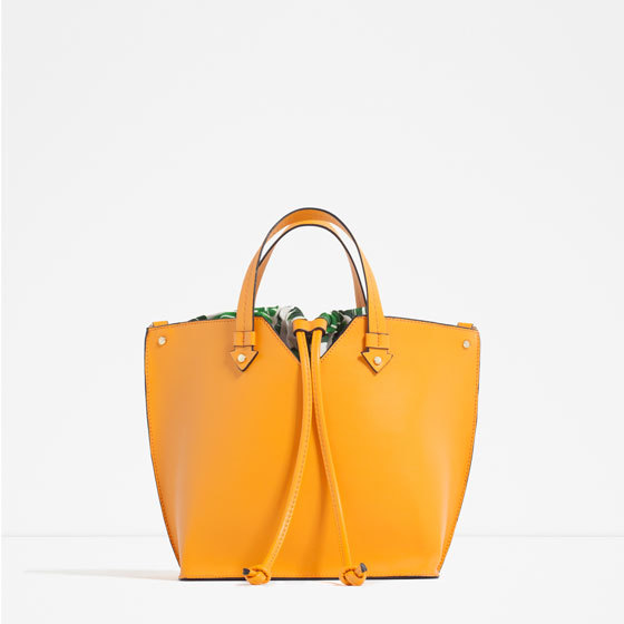 Mini Tote With Interior Print - predominant colour: yellow; occasions: casual, creative work; type of pattern: standard; style: tote; length: handle; size: oversized; material: leather; pattern: plain; finish: plain; season: s/s 2016; wardrobe: highlight