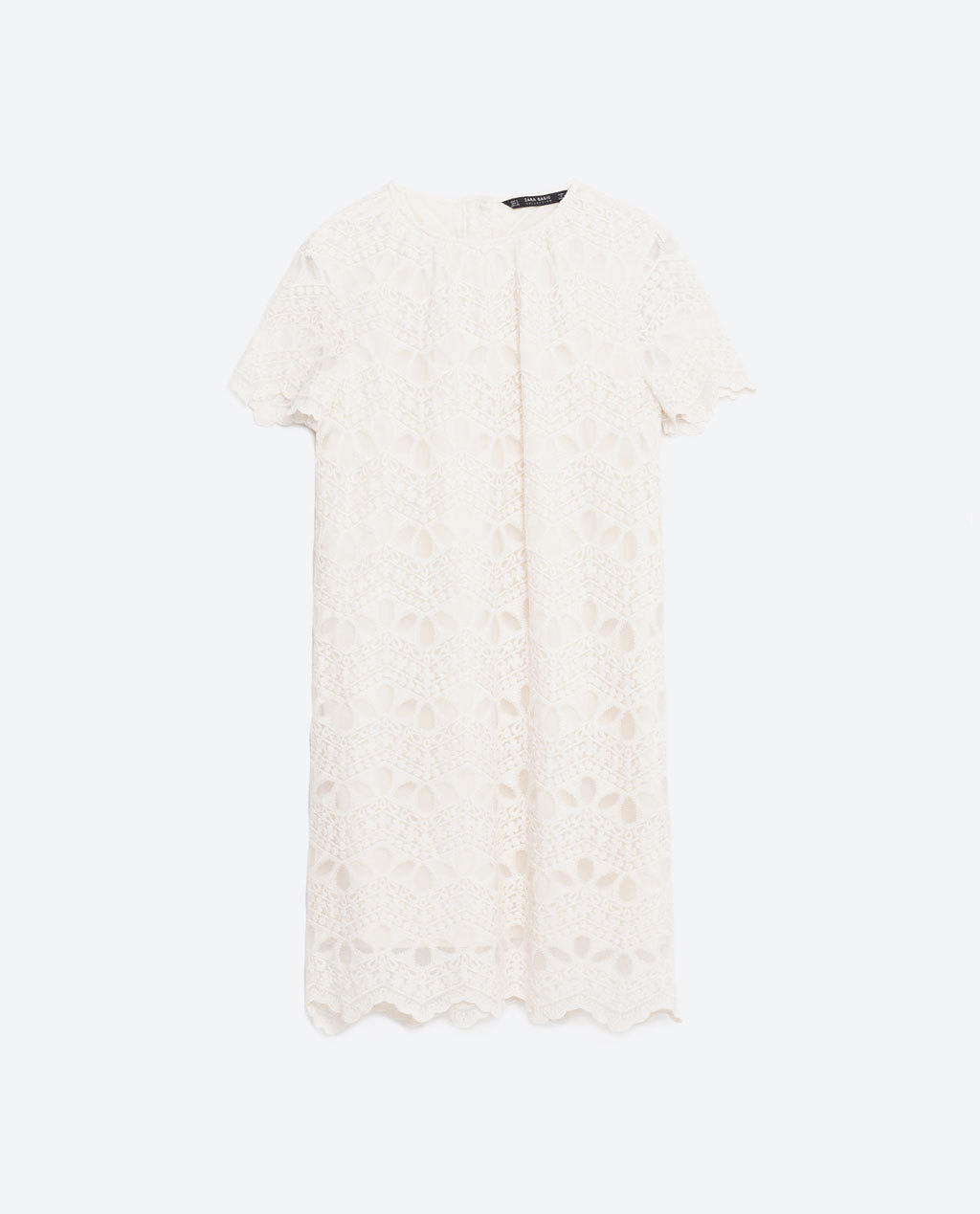 Lace Dress - style: shift; pattern: plain; predominant colour: white; occasions: casual; length: just above the knee; fit: body skimming; fibres: cotton - mix; neckline: crew; sleeve length: short sleeve; sleeve style: standard; texture group: lace; pattern type: fabric; pattern size: standard; season: s/s 2016