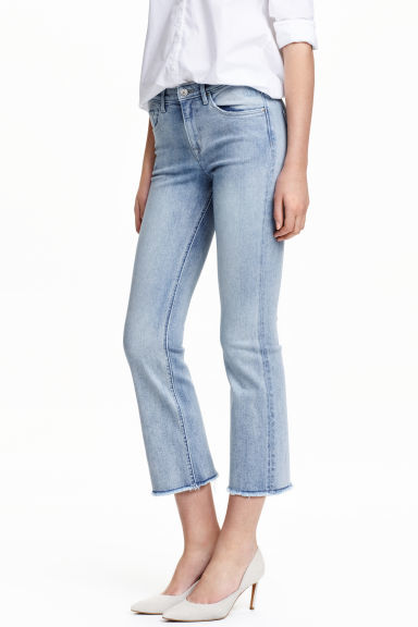 Kick Flare Ankle Jeans - style: flares; length: standard; pattern: plain; pocket detail: traditional 5 pocket; waist: mid/regular rise; predominant colour: denim; occasions: casual; fibres: cotton - stretch; texture group: denim; pattern type: fabric; season: s/s 2016