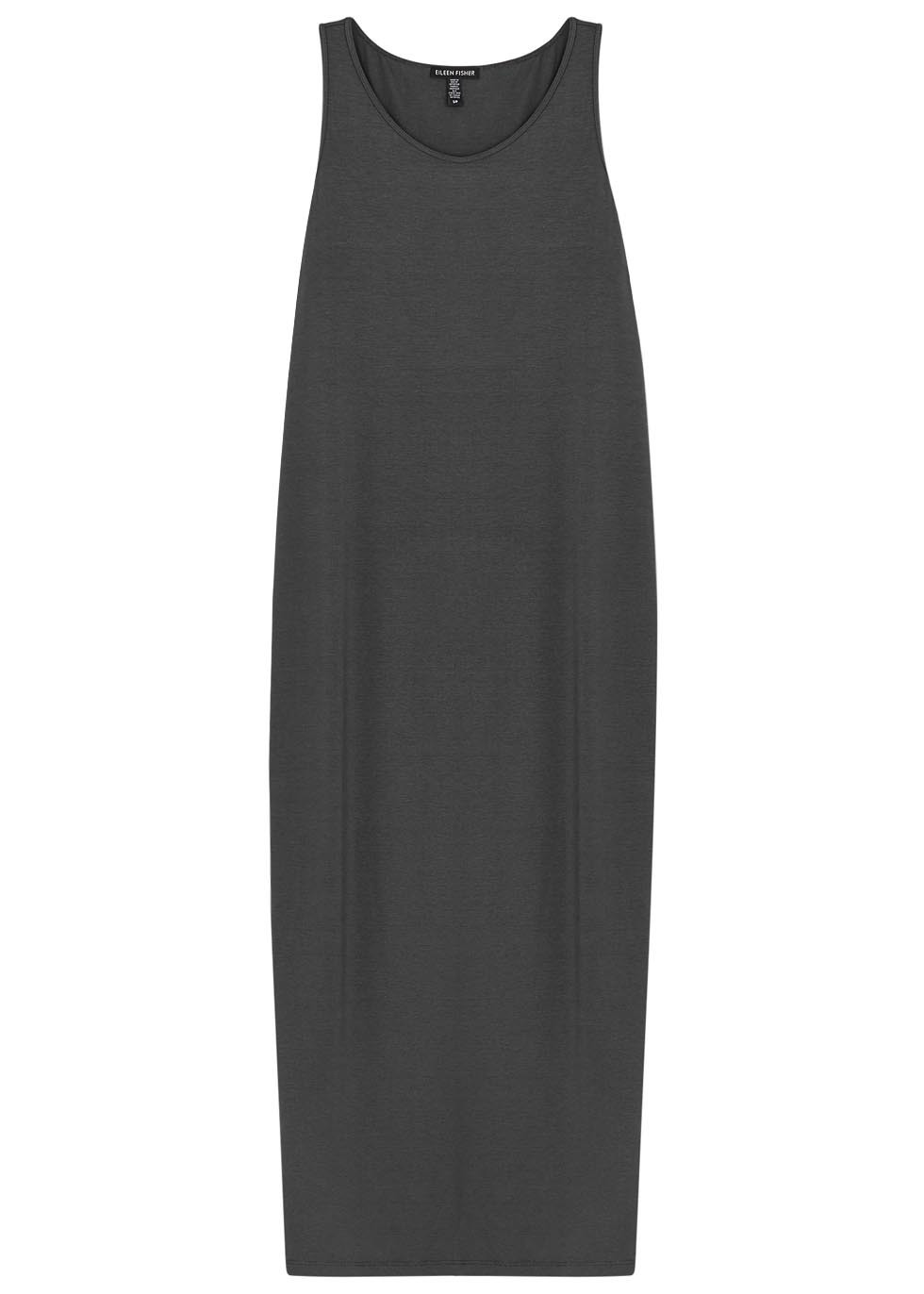 Grey Jersey Maxi Dress - neckline: round neck; pattern: plain; sleeve style: sleeveless; style: maxi dress; length: ankle length; predominant colour: charcoal; occasions: casual; fit: body skimming; fibres: viscose/rayon - stretch; sleeve length: sleeveless; pattern type: fabric; texture group: jersey - stretchy/drapey; season: s/s 2016