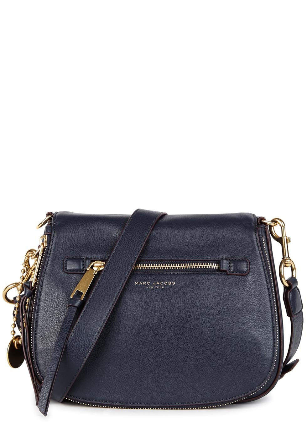 Recruit Navy Leather Shoulder Bag - predominant colour: navy; occasions: casual, creative work; type of pattern: small; style: saddle; length: across body/long; size: small; material: leather; pattern: plain; finish: plain; season: s/s 2016; wardrobe: basic