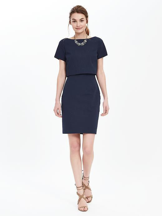 Seersucker Layered Dress Preppy Navy - style: shift; neckline: slash/boat neckline; pattern: plain; predominant colour: navy; occasions: evening; length: just above the knee; fit: body skimming; fibres: cotton - stretch; sleeve length: short sleeve; sleeve style: standard; pattern type: fabric; texture group: woven light midweight; season: s/s 2016; wardrobe: event