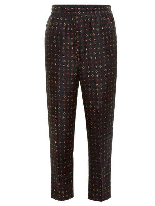 Toya Diamond Print Trousers - length: standard; waist: mid/regular rise; secondary colour: gold; predominant colour: black; occasions: evening; fibres: silk - 100%; fit: slim leg; pattern type: fabric; pattern: patterned/print; texture group: other - light to midweight; style: standard; multicoloured: multicoloured; season: s/s 2016; wardrobe: event