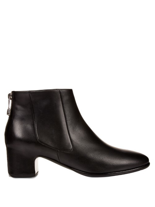 Haussmann Leather Ankle Boots - predominant colour: black; occasions: casual, creative work; material: leather; heel height: mid; heel: block; toe: round toe; boot length: ankle boot; style: standard; finish: plain; pattern: plain; season: s/s 2016