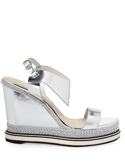 Leda Leather And Espadrille Wedge Sandals - predominant colour: silver; occasions: casual; material: leather; heel height: high; ankle detail: ankle strap; heel: wedge; toe: open toe/peeptoe; style: strappy; finish: metallic; pattern: plain; shoe detail: platform; season: s/s 2016; wardrobe: highlight