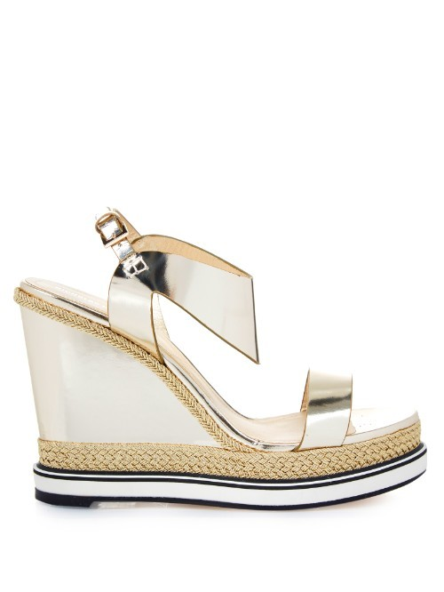 Leda Leather And Espadrille Wedge Sandals - predominant colour: silver; occasions: casual; material: leather; ankle detail: ankle strap; heel: wedge; toe: open toe/peeptoe; style: strappy; finish: metallic; pattern: plain; heel height: very high; shoe detail: platform; season: s/s 2016; wardrobe: highlight