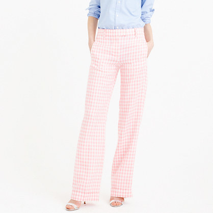 Petite Linen Pant In Gingham - length: standard; pattern: checked/gingham; waist: mid/regular rise; secondary colour: white; predominant colour: pink; fibres: cotton - mix; waist detail: narrow waistband; texture group: cotton feel fabrics; fit: wide leg; pattern type: fabric; style: standard; occasions: creative work; pattern size: standard (bottom); season: s/s 2016