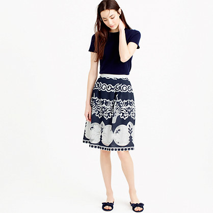 Petite Midi Skirt In Ornate Lace - fit: loose/voluminous; waist: high rise; secondary colour: white; predominant colour: black; length: on the knee; style: a-line; fibres: cotton - mix; occasions: occasion; texture group: lace; pattern type: fabric; pattern: patterned/print; pattern size: big & busy (bottom); season: s/s 2016; wardrobe: event