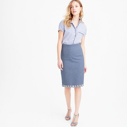 Scalloped Skirt With Grommets - style: pencil; fit: tailored/fitted; waist: high rise; pattern: argyll; predominant colour: denim; length: on the knee; fibres: cotton - 100%; pattern type: fabric; texture group: woven light midweight; occasions: creative work; season: s/s 2016; wardrobe: highlight