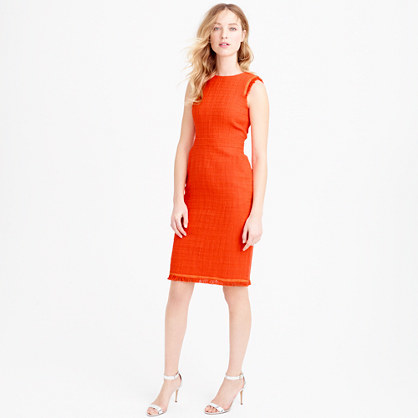 Sheath Dress In Textured Tweed - style: shift; fit: tailored/fitted; sleeve style: sleeveless; waist detail: fitted waist; hip detail: fitted at hip; pattern: herringbone/tweed; predominant colour: bright orange; length: just above the knee; fibres: wool - mix; occasions: occasion, creative work; neckline: crew; sleeve length: sleeveless; pattern type: fabric; pattern size: standard; texture group: tweed - light/midweight; season: s/s 2016